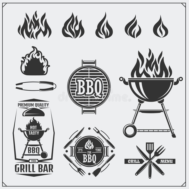 BBQ and grill labels set. Barbecue emblems, badges and design elements. Vector monochrome illustration. stock illustration