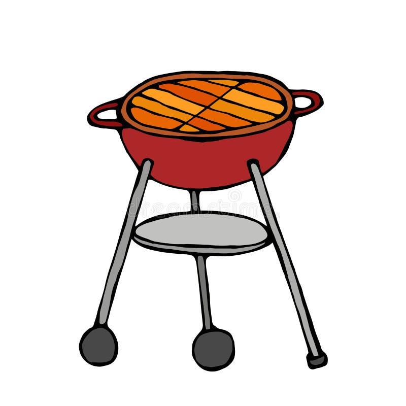BBQ grill Lata Partyjny wyposażenie pojedynczy białe tło Realistyczna ręka Rysujący Doodle kreskówki stylu nakreślenia wektor Ill ilustracji