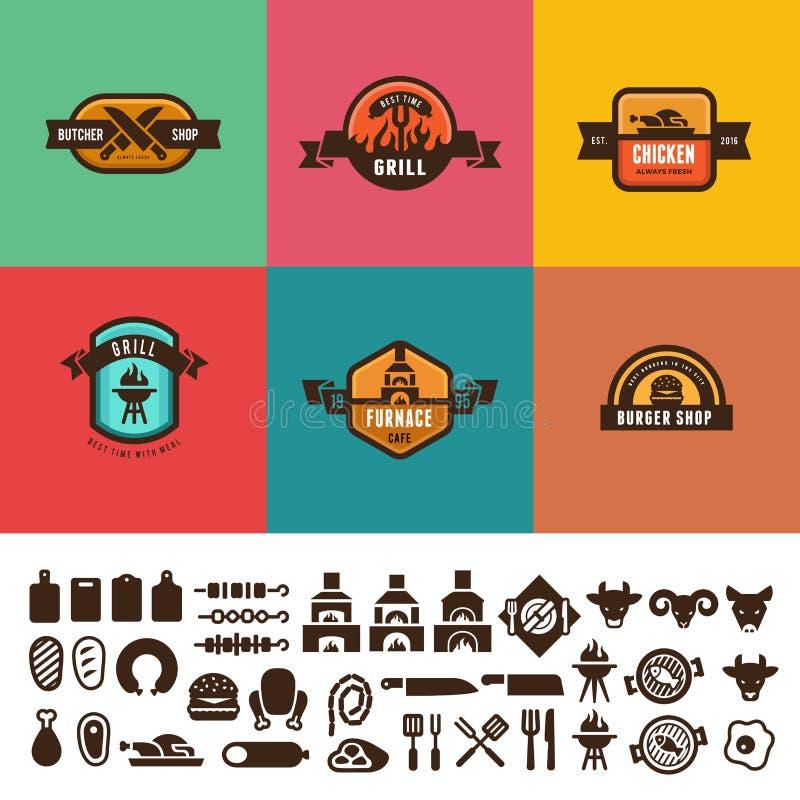 Bbq-Grill-Lebensmittel-Weinlese beschriftet Logovektordesign lizenzfreie abbildung