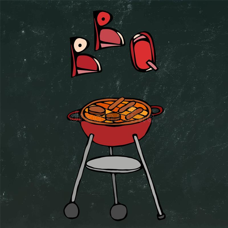 BBQ Grill and Lettering. Summer Party Equipment. on a Black Chalkboard Background. Realistic Doodle Cartoon Style Hand Dr. BBQ Grill and Lettering. Summer Party stock illustration