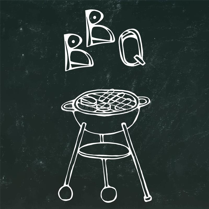 BBQ Grill and Lettering. Summer Party Equipment. on a Black Chalkboard Background. Realistic Doodle Cartoon Style Hand Dr. BBQ Grill and Lettering. Summer Party royalty free illustration