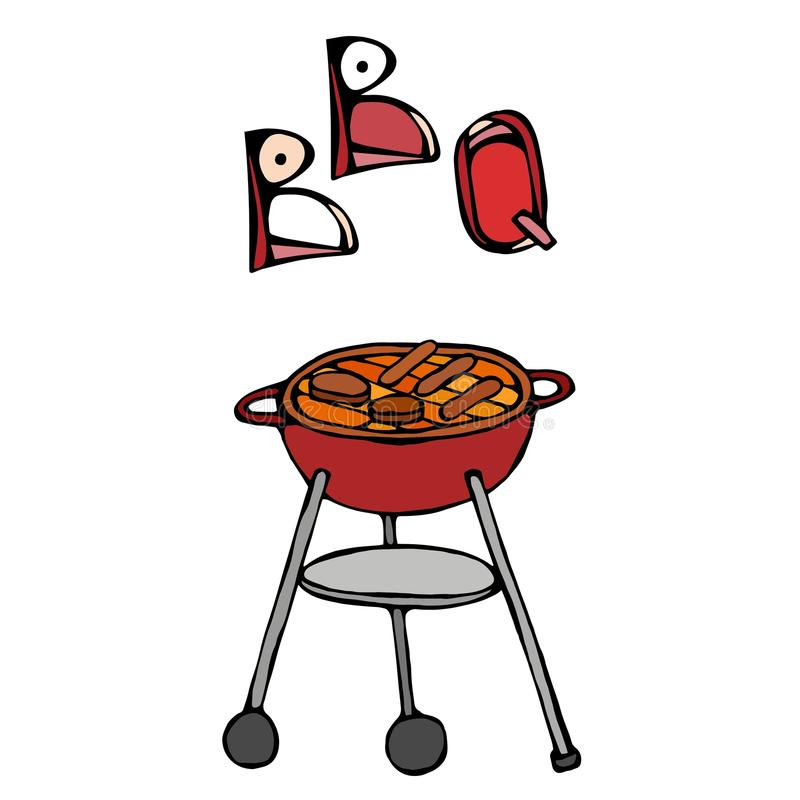 BBQ Grill and Lettering. Summer Party Equipment. Isolated On a White Background. Realistic Doodle Cartoon Style Hand Drawn Sketch. BBQ Grill and Lettering vector illustration