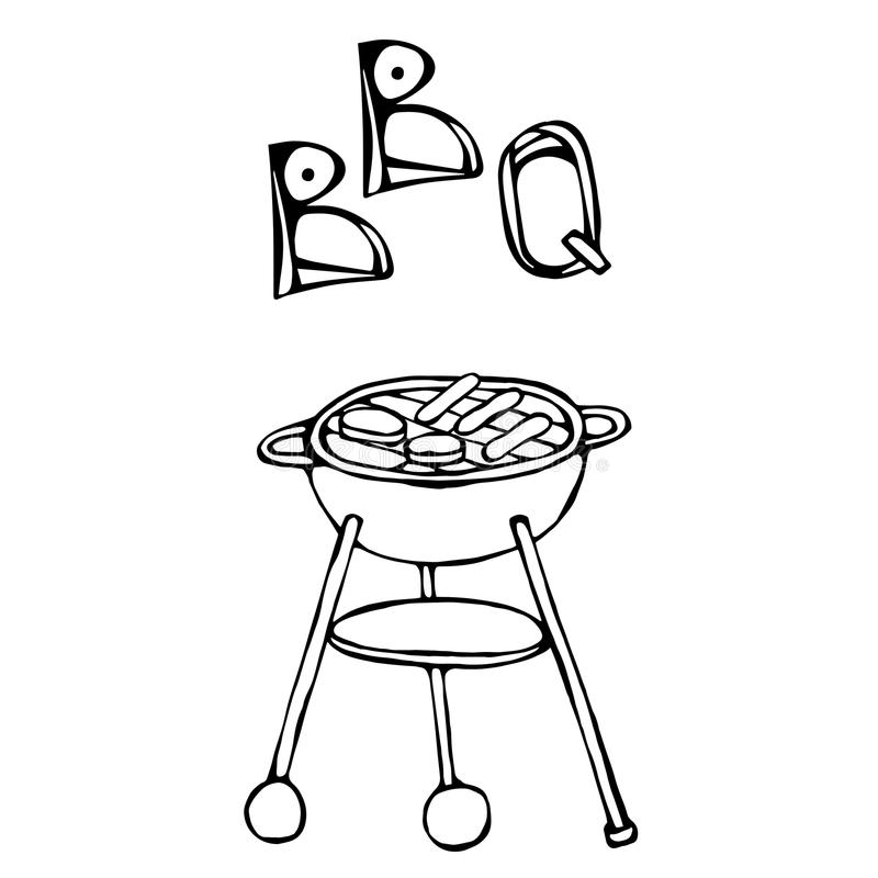 BBQ Grill and Lettering. Summer Party Equipment. Isolated On a White Background. Realistic Doodle Cartoon Style Hand Drawn Sketch. BBQ Grill and Lettering royalty free illustration