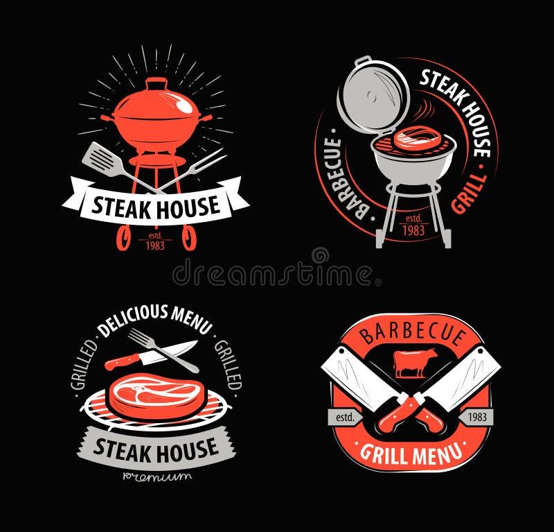 BBQ, grill, grill, logo lub symbol, Etykietki dla menu restauracja lub kawiarnia również zwrócić corel ilustracji wektora ilustracji