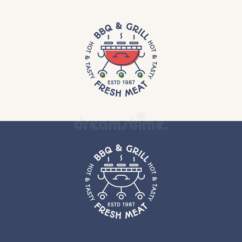 BBQ and grill logo set color and line style with sign fresh meat royalty free illustration