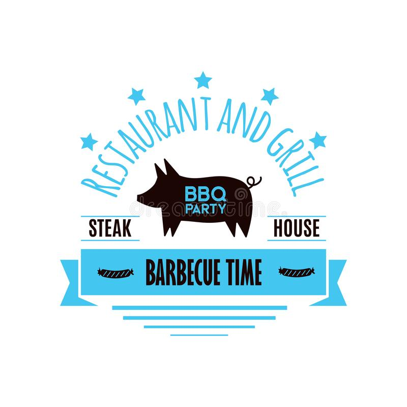 BBQ grill meat barbecue restaurant party at home dinner vector products skewer grilling kitchen equipment flat vector illustration