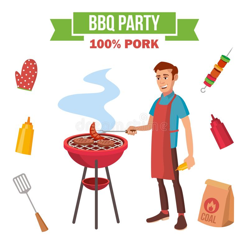 BBQ Grill Meat Cooking Vector. Man Cooking Meat. Outdoor Rest. Cartoon Character Illustration. BBQ Cooking Vector. Man Cook Grill Meat On Bbq. Flat Cartoon royalty free illustration