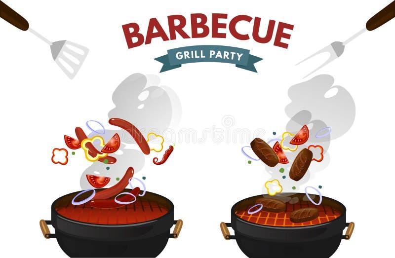 Bbq-Grill mit dem Steak, Würsten und Gemüse lokalisiert auf weißem Hintergrund Bunte Grillausrüstung mit Nahrung und Feuer Vektor lizenzfreie abbildung