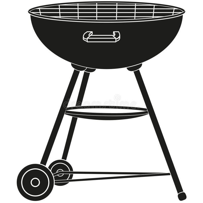 BBQ grill na koło sylwetce ilustracja wektor