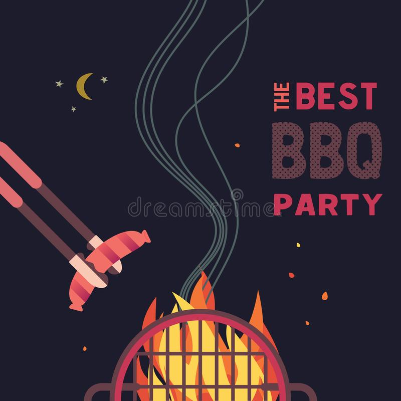 BBQ grill night party flat color icon. BBQ grilled sausages flat hand drawn vector color icon. Barbecue design element. Grilling pork sausage camping fire stock illustration