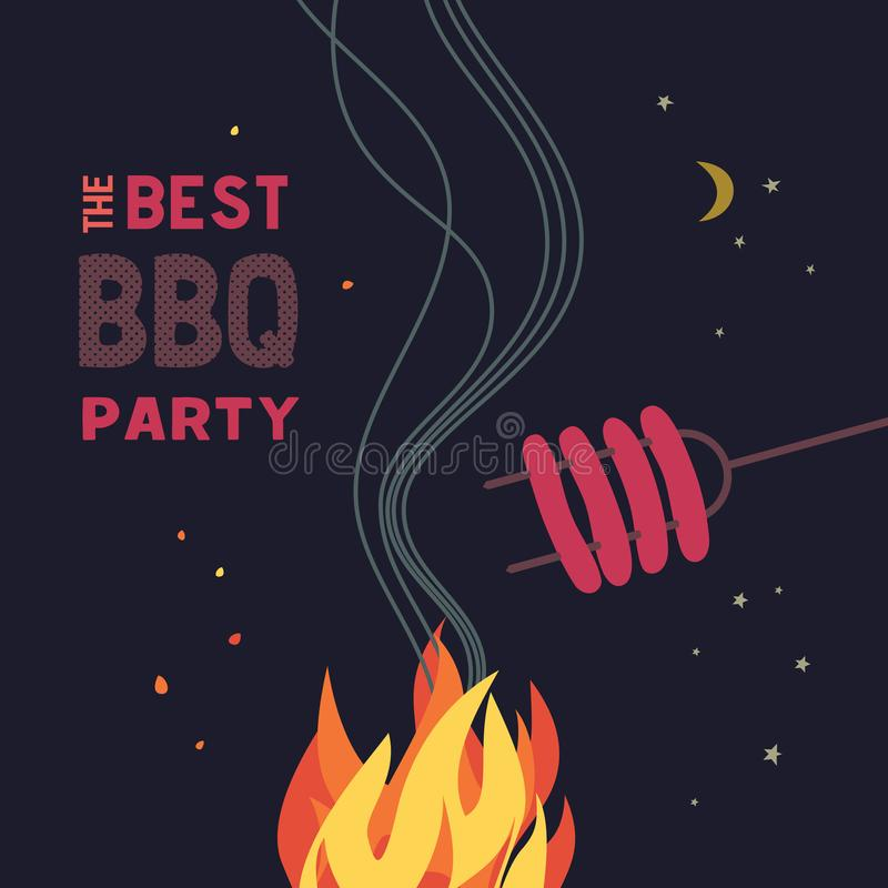 BBQ grill night party flat color icon. BBQ grilled sausages flat hand drawn vector color icon. Barbecue design element. Grilling pork sausage camping fire vector illustration