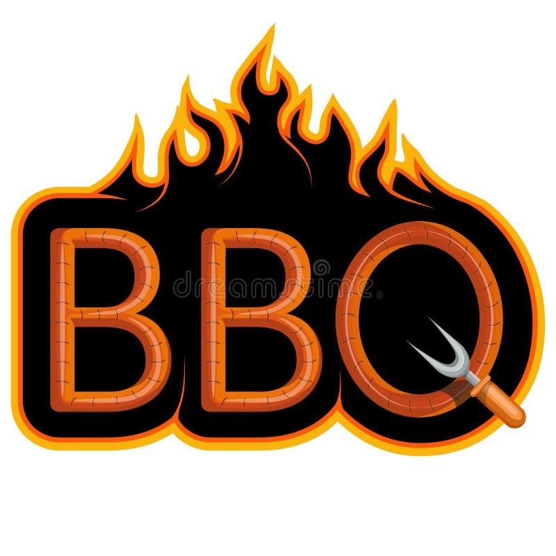 BBQ grill Ooking vlees Ð ¡ op brand royalty-vrije illustratie