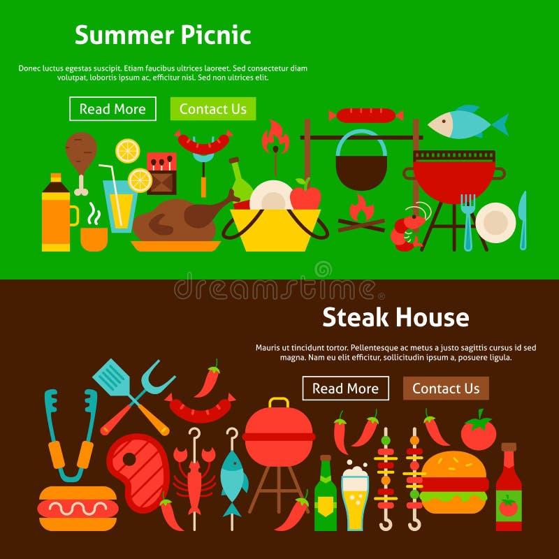 Bbq-Grill-Picknick-Website-Fahnen lizenzfreie abbildung