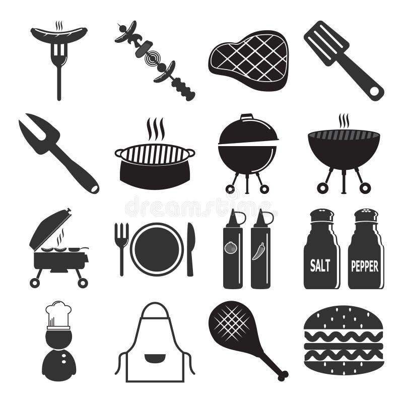 BBQ grill, grill piecowej ikony ustalona ilustracja ilustracja wektor
