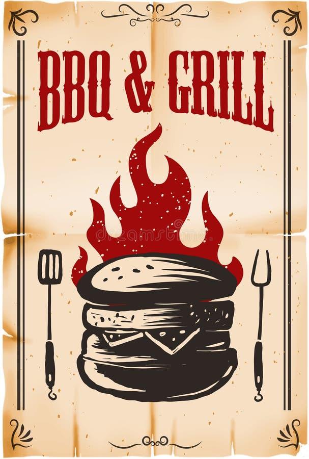 BBQ & grill Plakatowy szablon z hamburger ilustracją na grunge tle Projektuje element dla karty, sztandar, ulotka, restauracyjni  royalty ilustracja