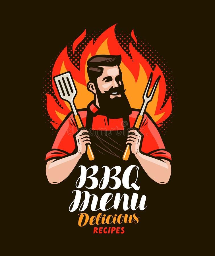 BBQ, grill Projekt menu dla restauraci lub kawiarni również zwrócić corel ilustracji wektora ilustracja wektor