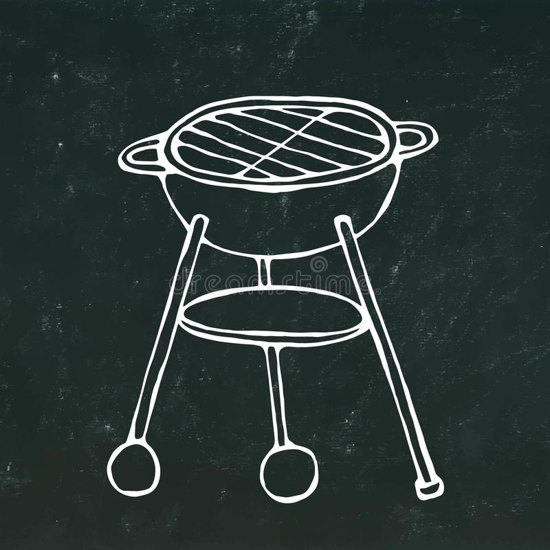 BBQ Grill. Summer Party Equipment. on a Black Chalkboard Background. Realistic Doodle Cartoon Style Hand Drawn Sketch Vec. BBQ Grill. Summer Party Equipment stock illustration