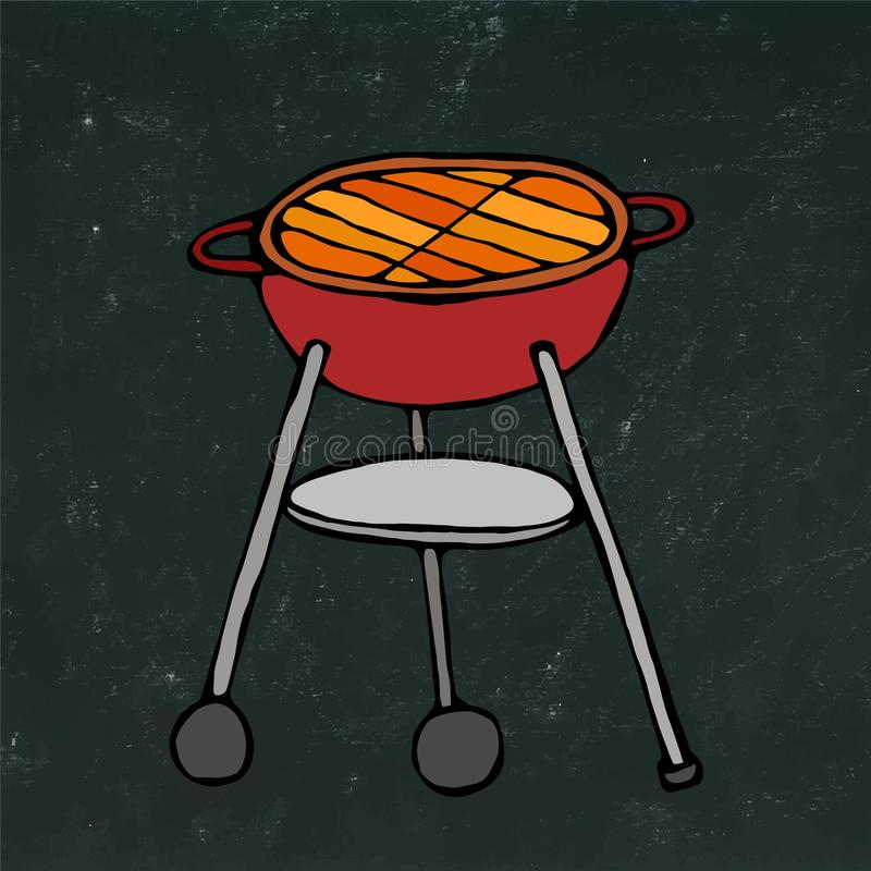 BBQ Grill. Summer Party Equipment. on a Black Chalkboard Background. Realistic Doodle Cartoon Style Hand Drawn Sketch Vec. BBQ Grill. Summer Party Equipment royalty free illustration