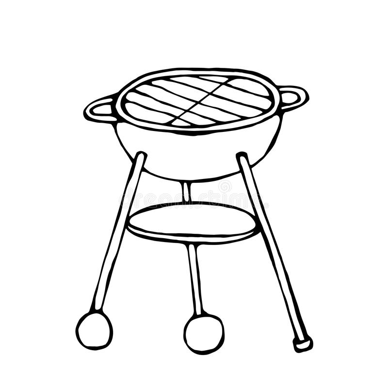BBQ Grill. Summer Party Equipment. Isolated On a White Background. Realistic Doodle Cartoon Style Hand Drawn Sketch Vector Illustr. BBQ Grill. Summer Party stock illustration