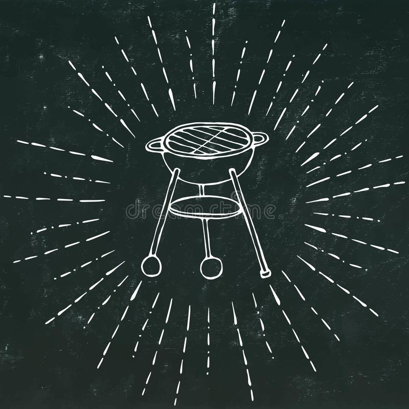 BBQ Grill in Sun Rays for Summer Party Menu. on a Black Chalkboard Background. Realistic Doodle Cartoon Style Hand Drawn. BBQ Grill in Sun Rays for Summer Party vector illustration