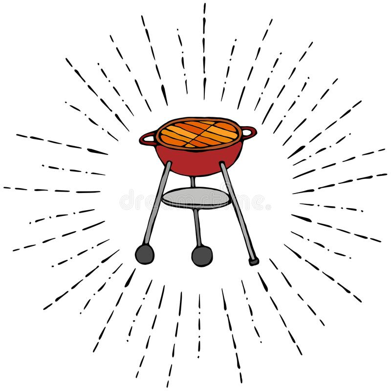 BBQ Grill in Sun Rays for Summer Party Menu. Isolated On a White Background. Realistic Doodle Cartoon Style Hand Drawn Sketch Vect stock illustration