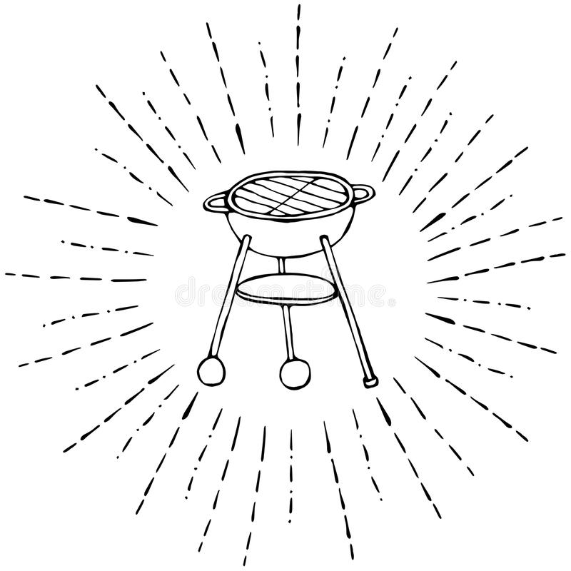 BBQ Grill in Sun Rays for Summer Party Menu. Isolated On a White Background. Realistic Doodle Cartoon Style Hand Drawn Sketch Vect. BBQ Grill in Sun Rays for stock illustration