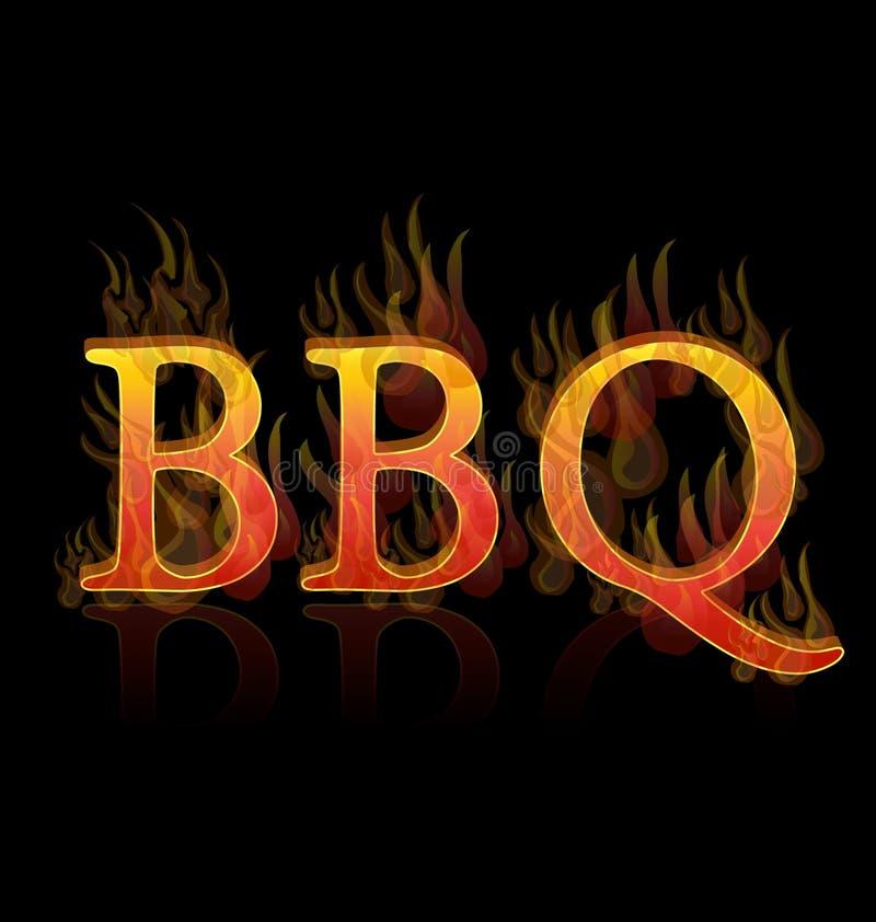 BBQ grill text icon vector illustration