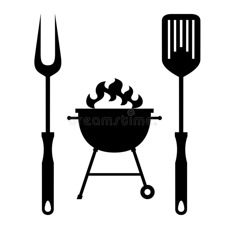 BBQ or grill tools icon stock illustration