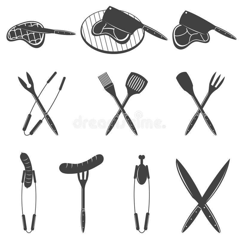BBQ Grill- und Grillgestaltungselemente Ausrüstung, Fleisch, Huhn, Wurst Ikonen, Aufkleber für Steakhaus oder Grillbar vektor abbildung