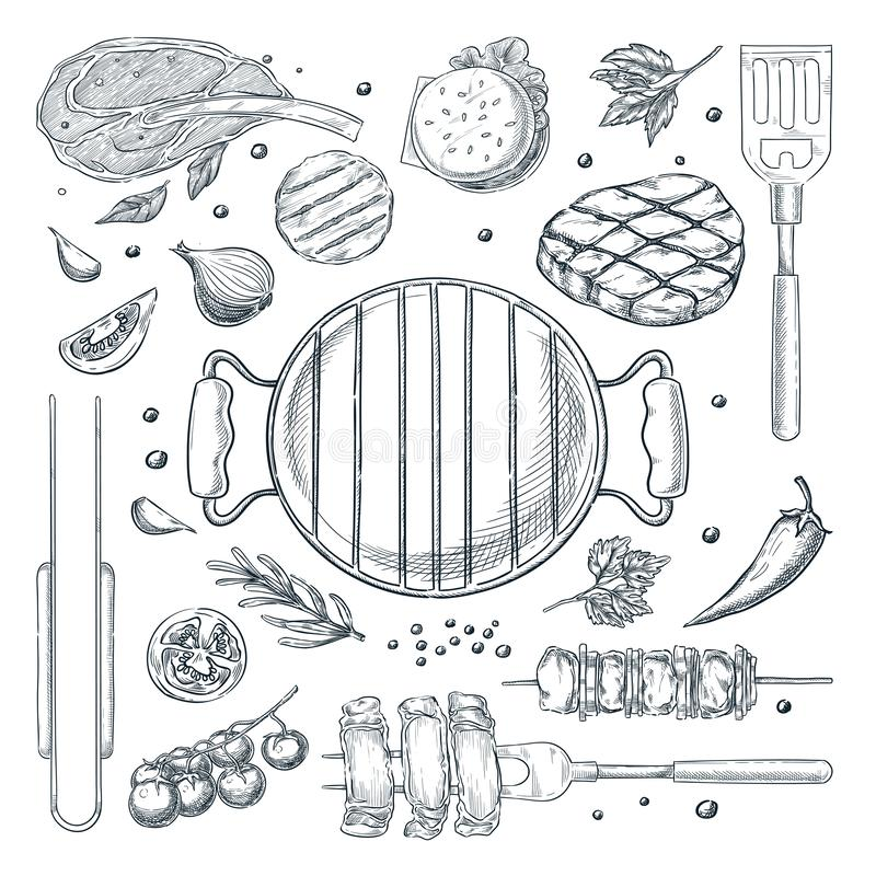 BBQ grill vector sketch illustration. Top view objects set, isolated on white background. Picnic menu design elements. BBQ and grill vector sketch illustration vector illustration