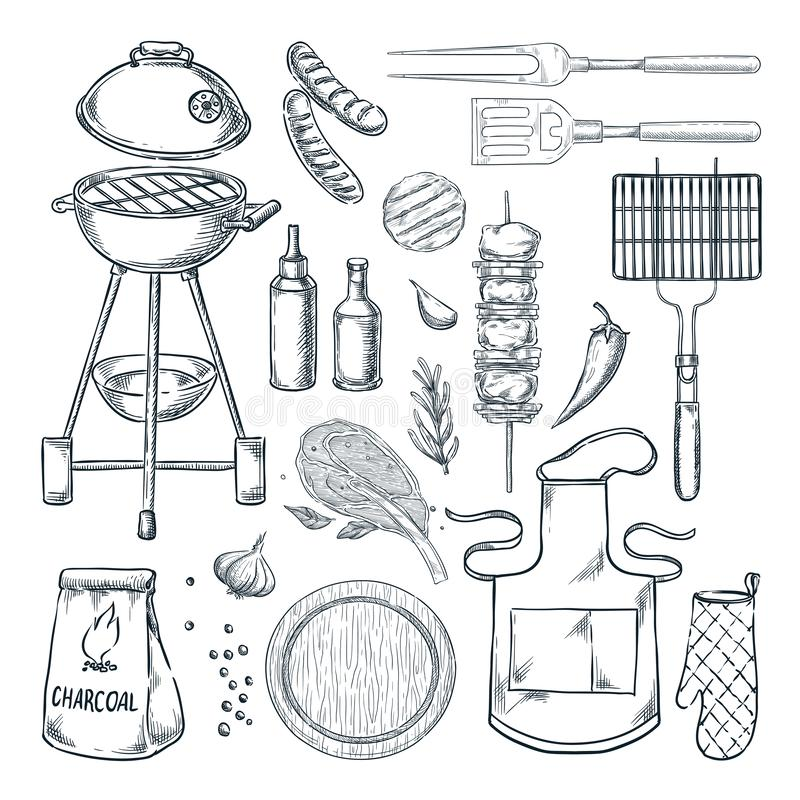 BBQ grill vector sketch illustration. Top view objects set, isolated on white background. Picnic menu design elements. BBQ and grill vector sketch illustration royalty free illustration