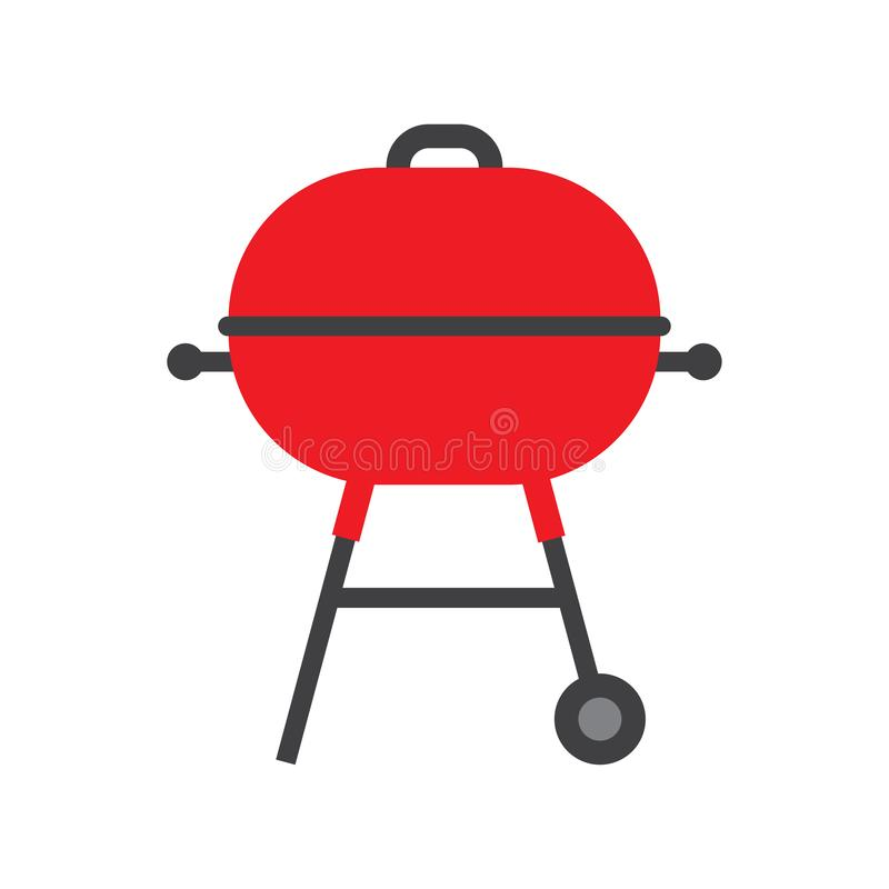 BBQ grill z czerwon? nakr?tk? odizolowywaj?c? na bielu ilustracji