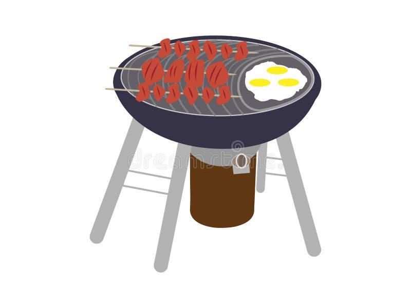 BBQ grill z kebabem royalty ilustracja