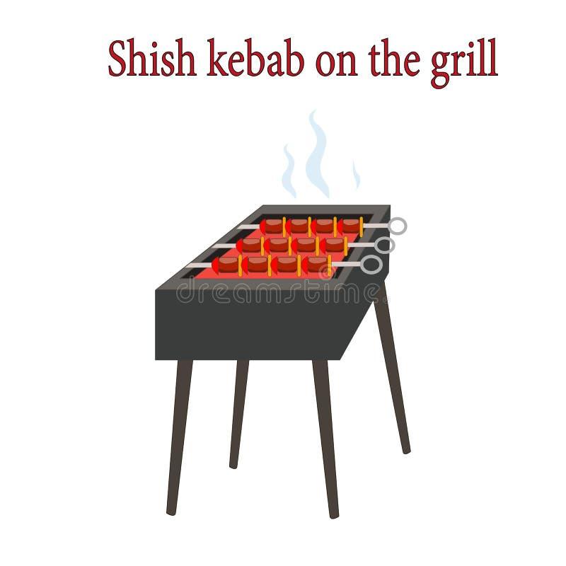 BBQ grill z realistycznym shish Kebabem ilustracji