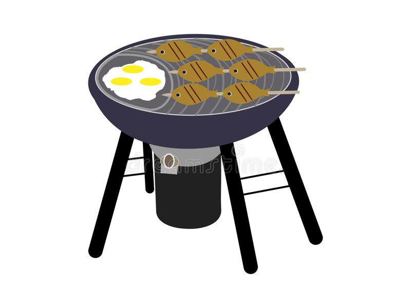 BBQ grill z ryba ilustracja wektor