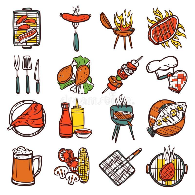 Bbq grilla Barwione ikony Ustawiać ilustracji