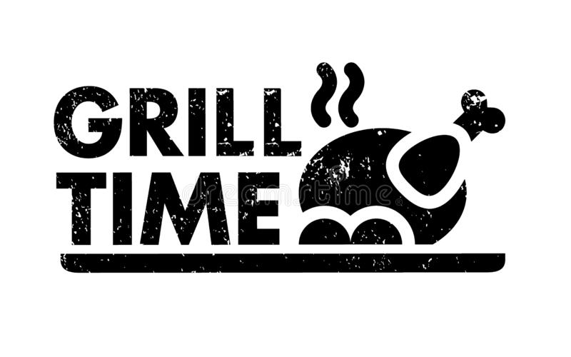BBQ grilla czas royalty ilustracja