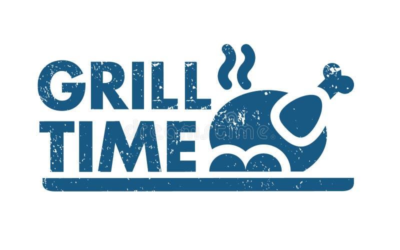 BBQ grilla czas ilustracji