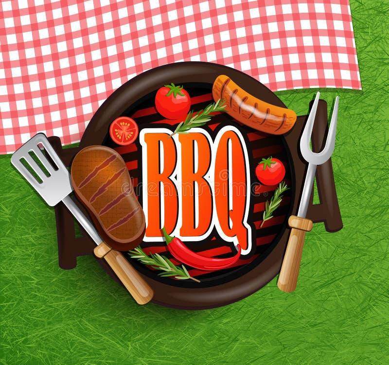 BBQ grilla elementy royalty ilustracja