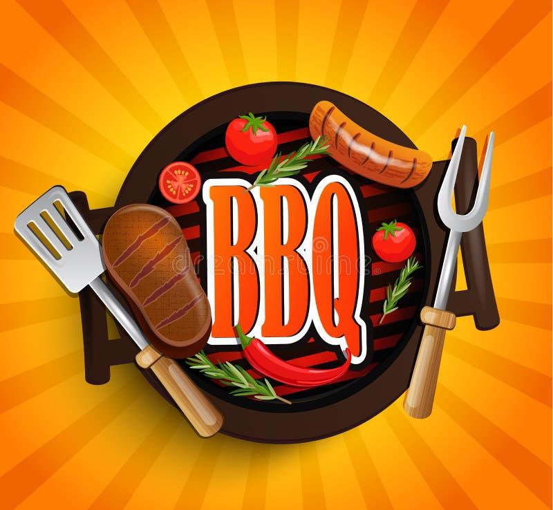 BBQ grilla elementy wektor ilustracji