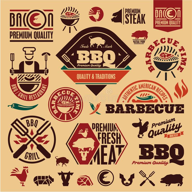 BBQ grilla etykietki royalty ilustracja