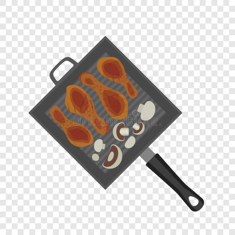 Bbq grilla griddle ikona, mieszkanie styl ilustracja wektor