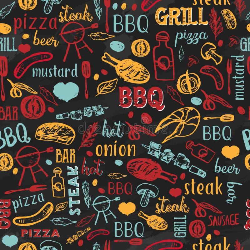 BBQ grilla grilla nakreślenia Bezszwowy wzór z typografią Kolorowy cukierniany menu projekt dla zawijać, sztandary, promocja royalty ilustracja