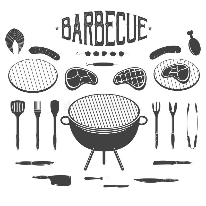 BBQ Grilla i grilla projekta elementy Wyposażenie, mięso, kurczak, kiełbasa, kebab ilustracja wektor