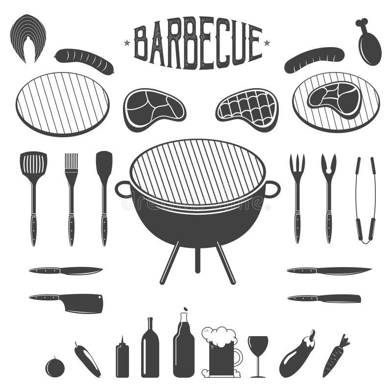 BBQ Grilla i grilla projekta elementy Wyposażenie, mięso, piwo, warzywa, wino ilustracja wektor