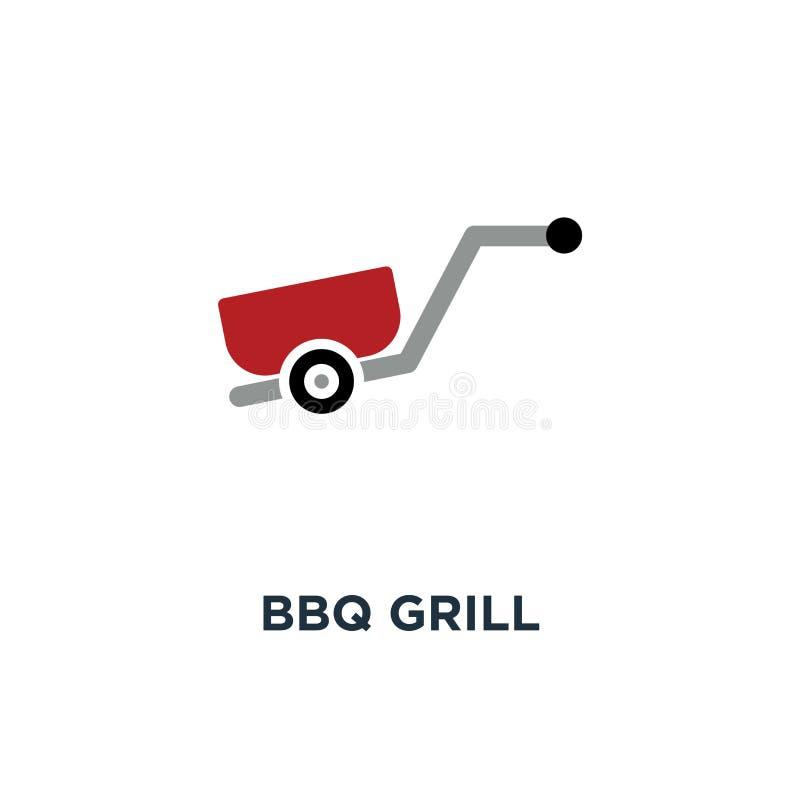 BBQ grilla ikona jedzenia przyjęcie, plenerowy pykniczny grilla znaka pojęcie ilustracja wektor