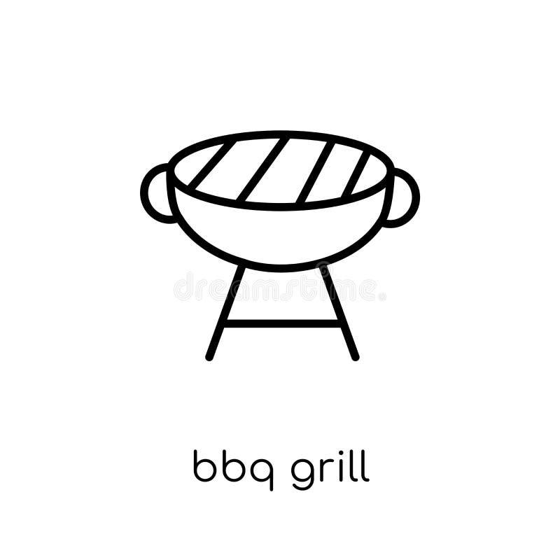 BBQ grilla ikona Modna nowożytna płaska liniowa wektoru BBQ grilla ikona royalty ilustracja