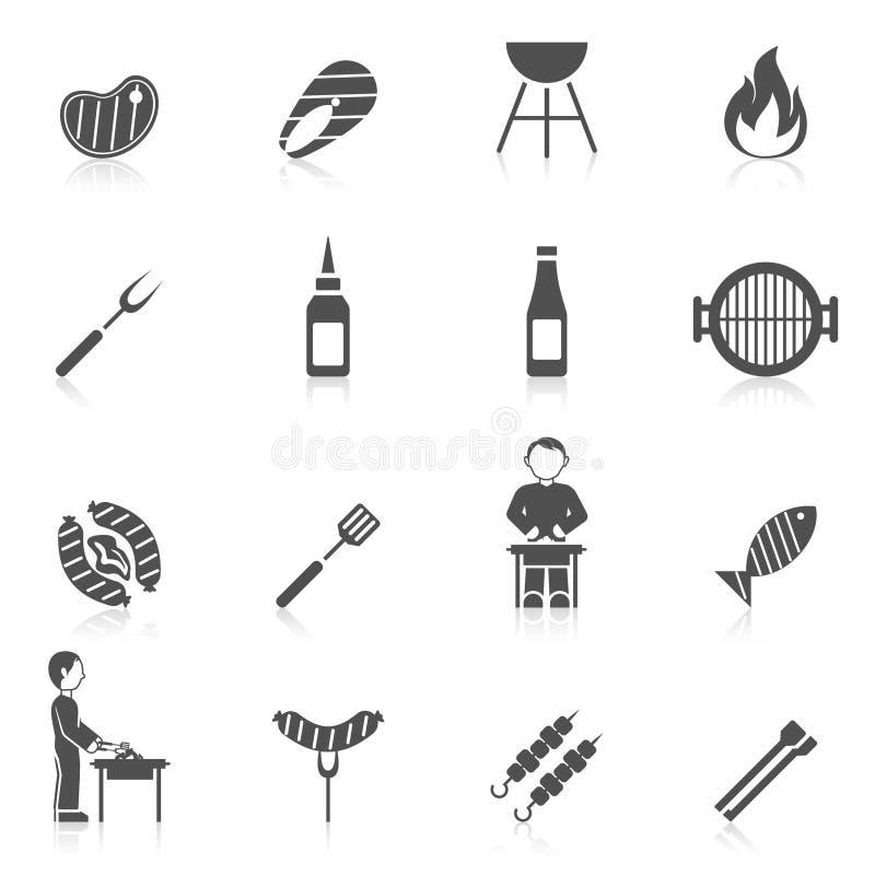 Bbq grilla ikony czerń ilustracja wektor