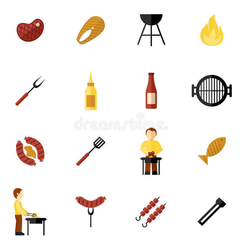 Bbq grilla ikony mieszkanie ilustracja wektor