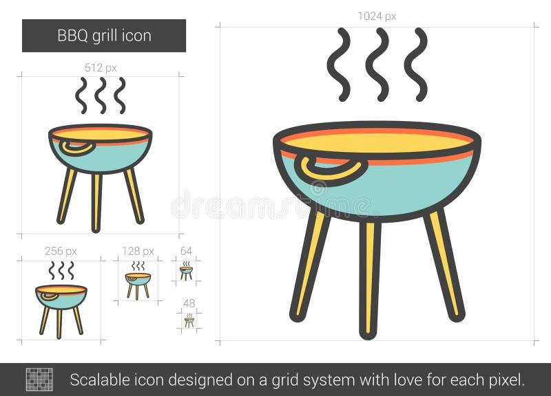 BBQ grilla linii ikona ilustracja wektor